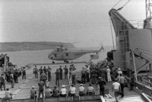 Helicopter on the flight deck